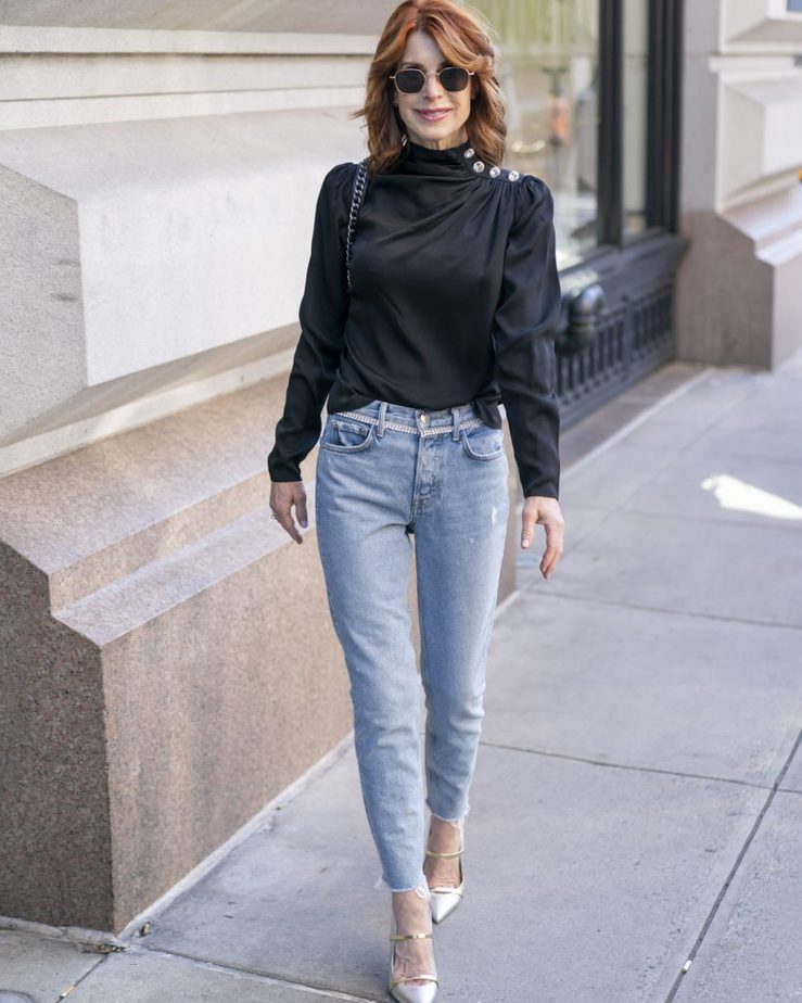 Over 40 Blogger in New York City wearing Black Blouse with Sparkle Details