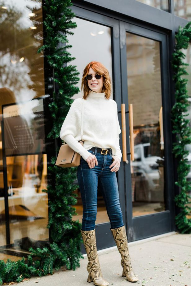 Over Fifty Fashion Blogger wearing Cashmere Sweater