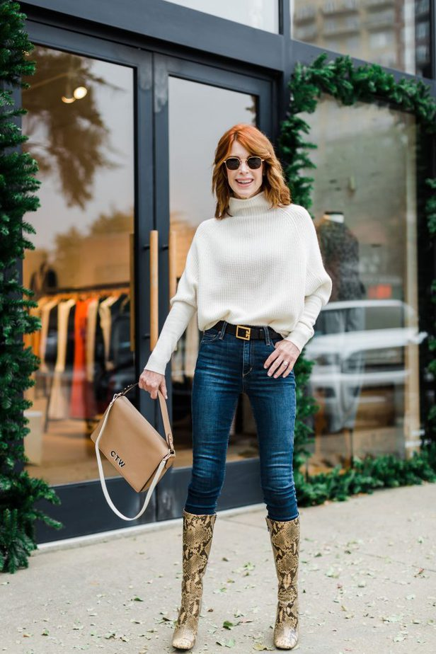 Cashmere Sweater paired with Givenchy Belt and Jeans