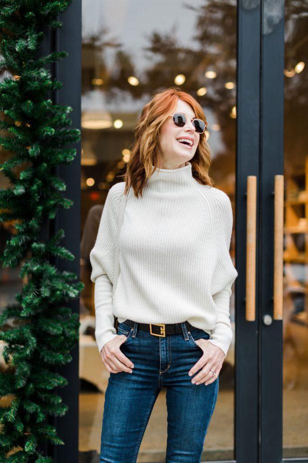 Club Monaco Cashmere Sweater worn by Dallas Blogger