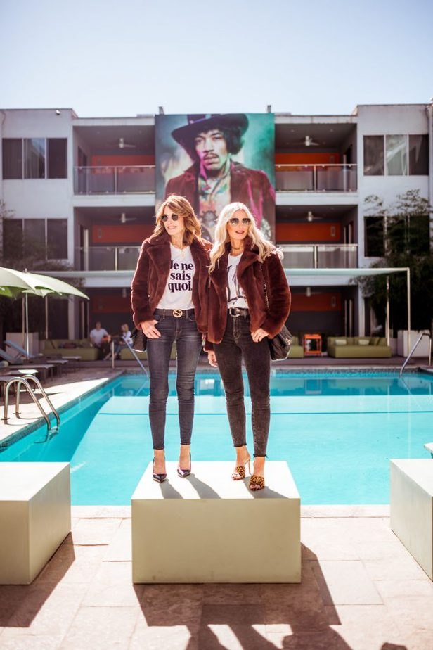 Dallas bloggers wearing Frame faux fur jackets in Los Angeles
