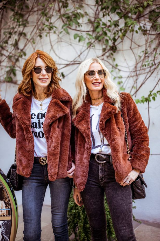 Dallas Bloggers wearing a faux fur jacket from Frame
