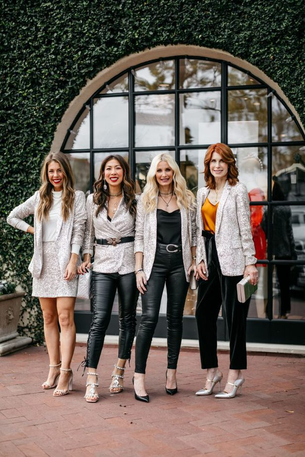Chic At Every Age Dallas Bloggers wearing sequin blazer from Banana Republic