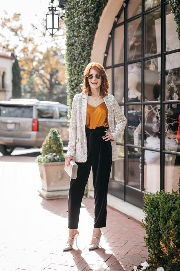 Over 40 Dallas Blogger Cathy Williamson wearing sequin blazer with Alice and Olivia trousers