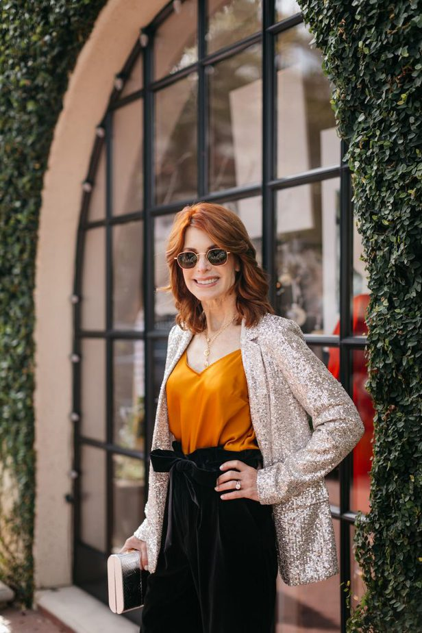Cathy Williamson wearing marigold Paige Cicely Cami with sequin blazer from Banana Republic