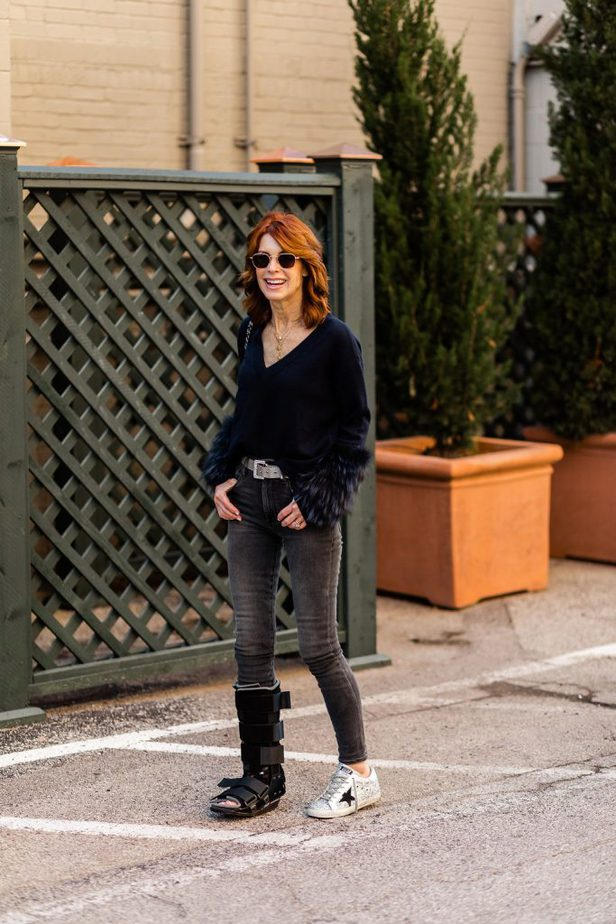 Over 50 Dallas Blogger wearing navy sweater by Alice + Olivia