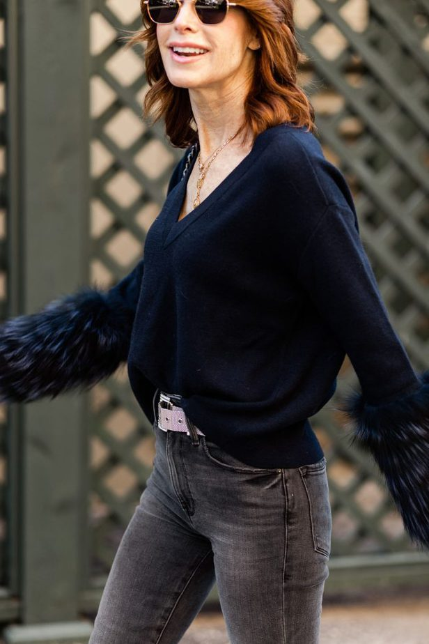 Cathy Williamson wearing Alice + Olivia Sweater in navy
