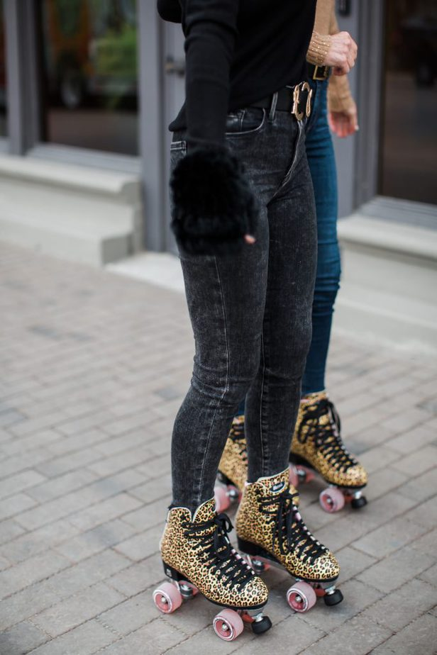 Dallas Bloggers wearing Leopard Print roller skates from Roller Skate Nation