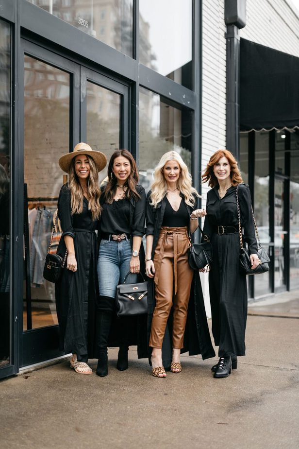 Chic At Every Age Dallas Bloggers wearing Black Shirt Dress