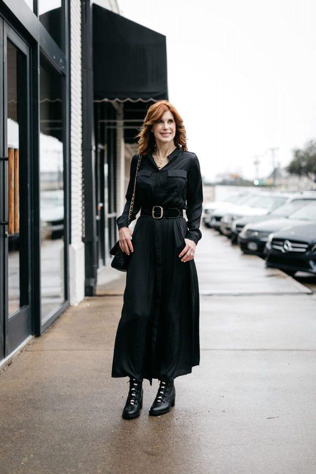 Cathy Williamson wearing Black Banana Republic Dress belted