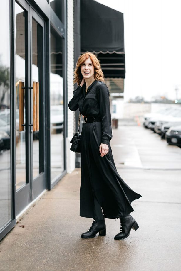 The Middle Page wearing Black Dress from Banana Republic