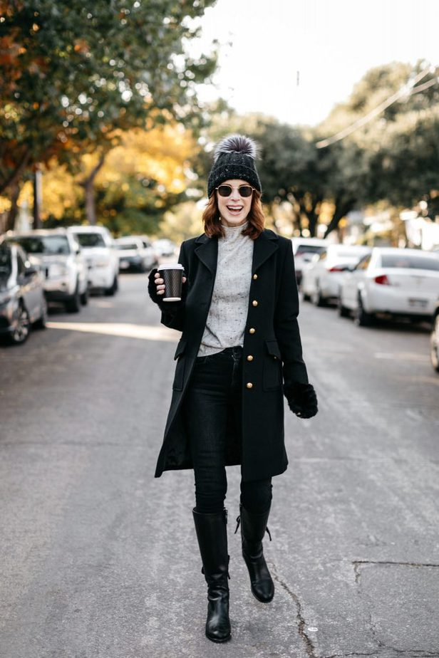 Over 40 Dallas Blogger wearing black wool Gucci coat with black beanie and Nordstrom fur Gloves