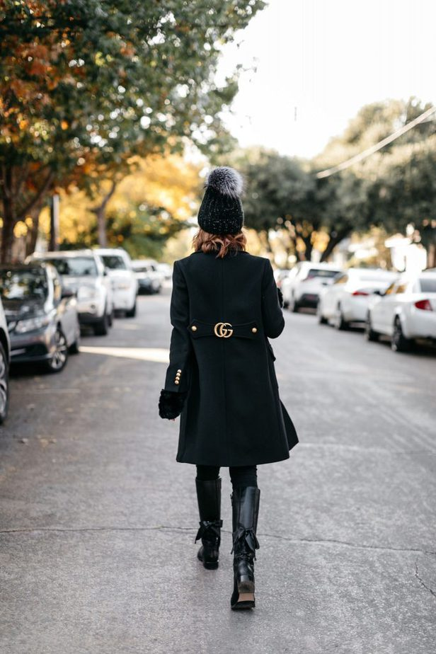 Dallas blogger wearing black wool double G gucci coat