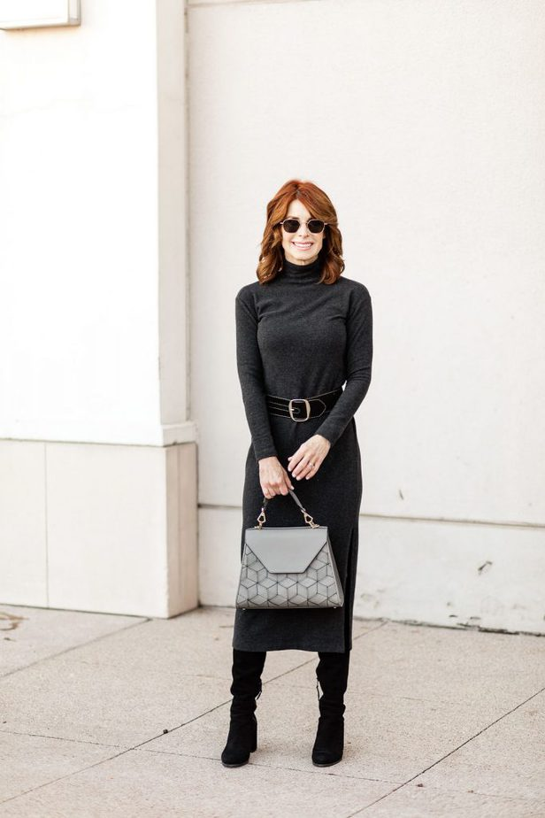 The Middle Page wearing turtleneck dress by Vince with Welden purse