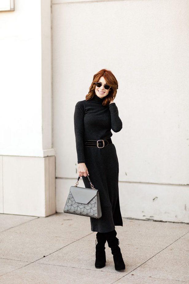 Over 50 Dallas Fashion blogger wearing Vince turtleneck dress