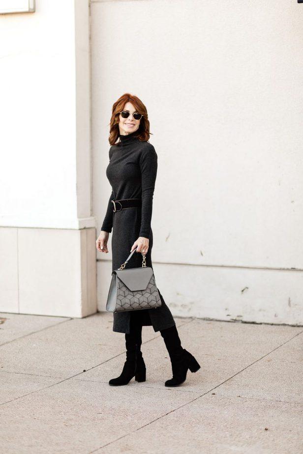 Cathy Williamson wearing Vince Turtleneck Dress and Welden Handbag