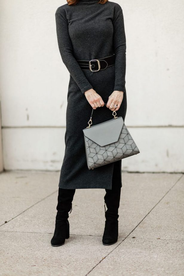 Dallas Fashion Blogger wearing Vince Turtleneck dress with Welden Hexagon Bag