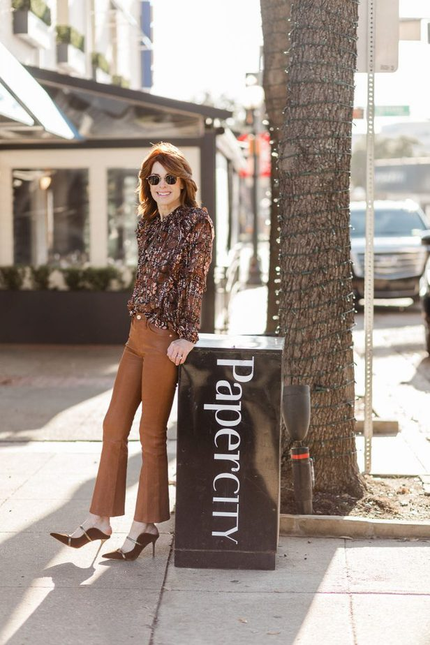 The Middle Page wearing Frame leather pants in Dallas