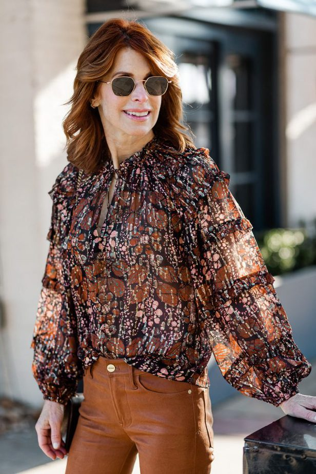 Cathy Williamson wearing Ulla Johnson Blouse with Frame Leather Pants