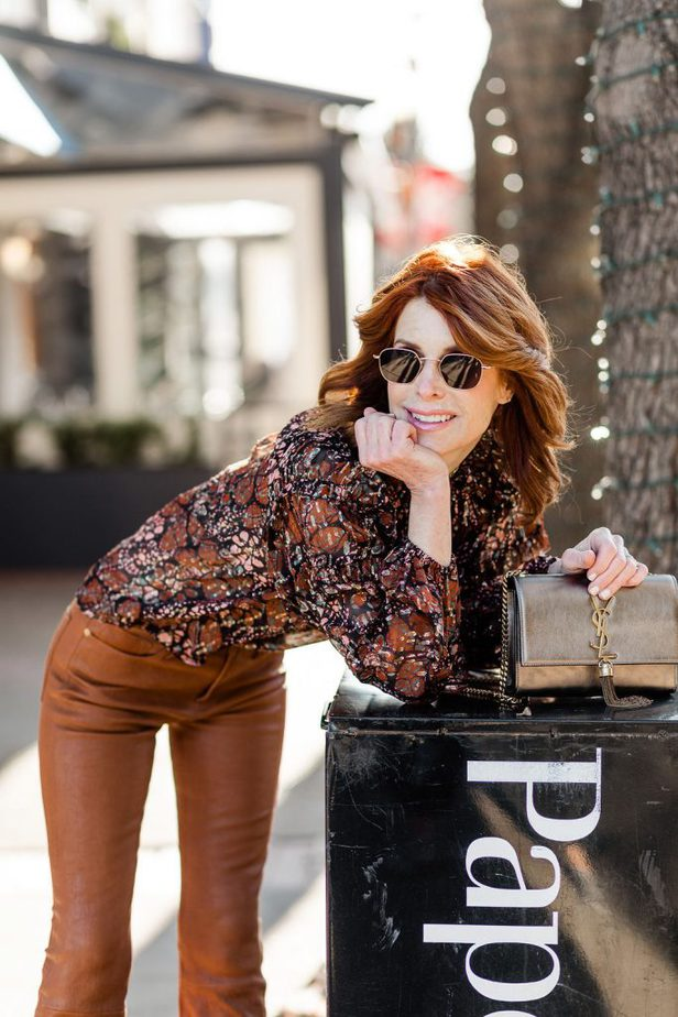 Dallas Fashion Blogger wearing Caramel Frame Leather Pants and Ulla Johnson Blouse with YSL purse