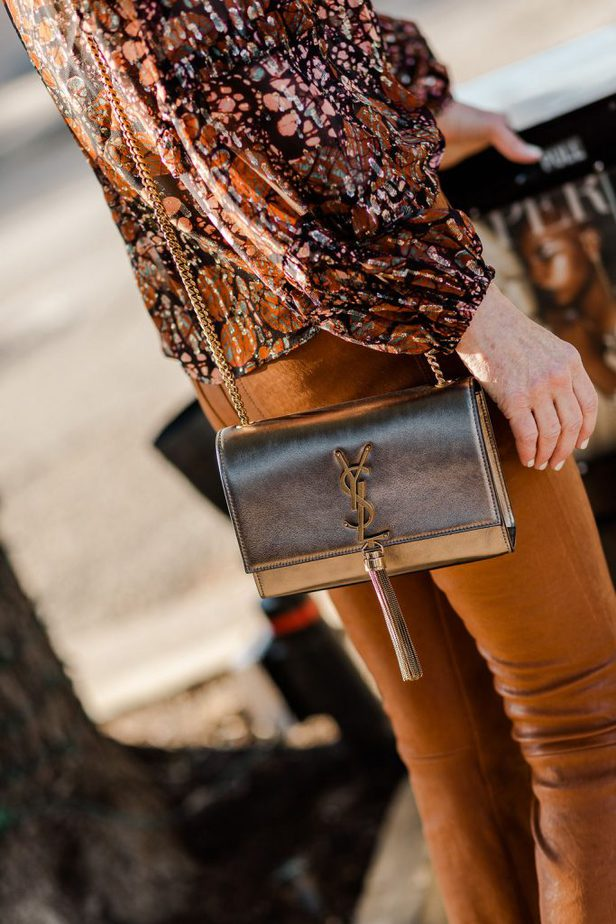 Caramel Leather Frame pants with YSL purse