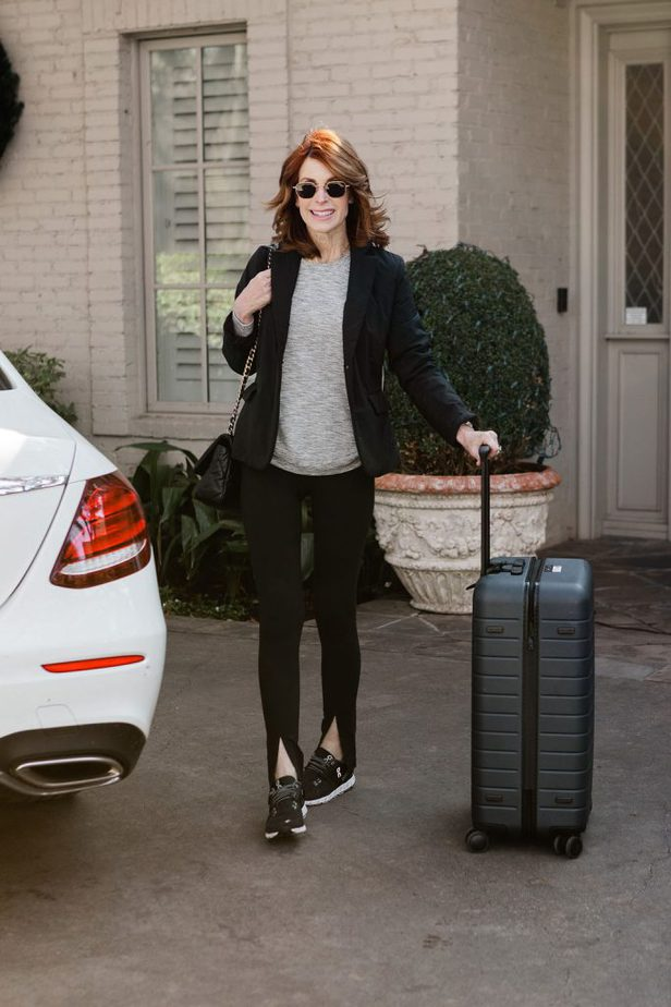 The Middle Page wearing Comfortable travel outfit from Athleta with On Cloud tennis shoes