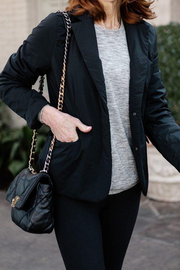 Over 40 Dallas Blogger wearing Black blazer from Athleta