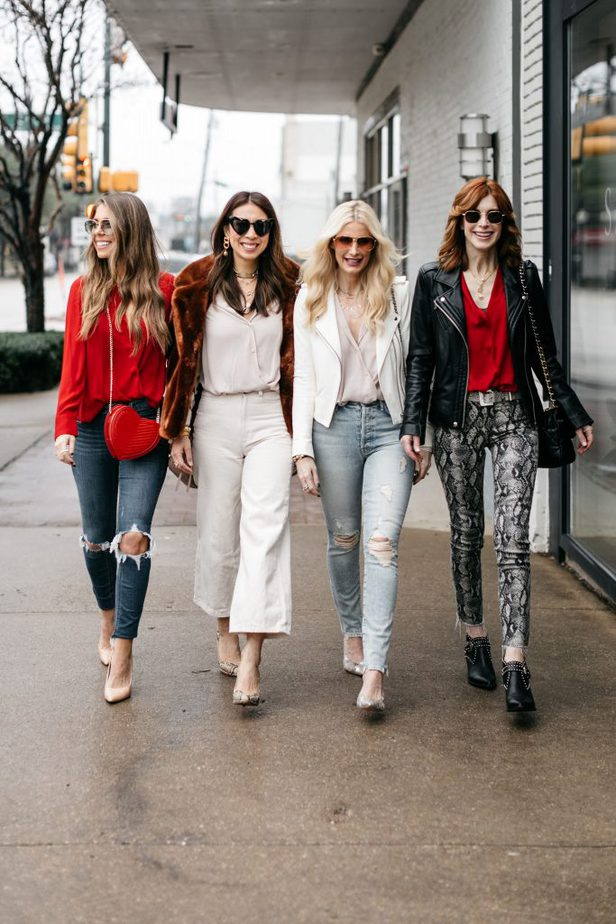 So Heather, The Middle Page, Style of Sam, and Natalie of The Fashion Hour wearing Valentine's Day Blouse Under $100