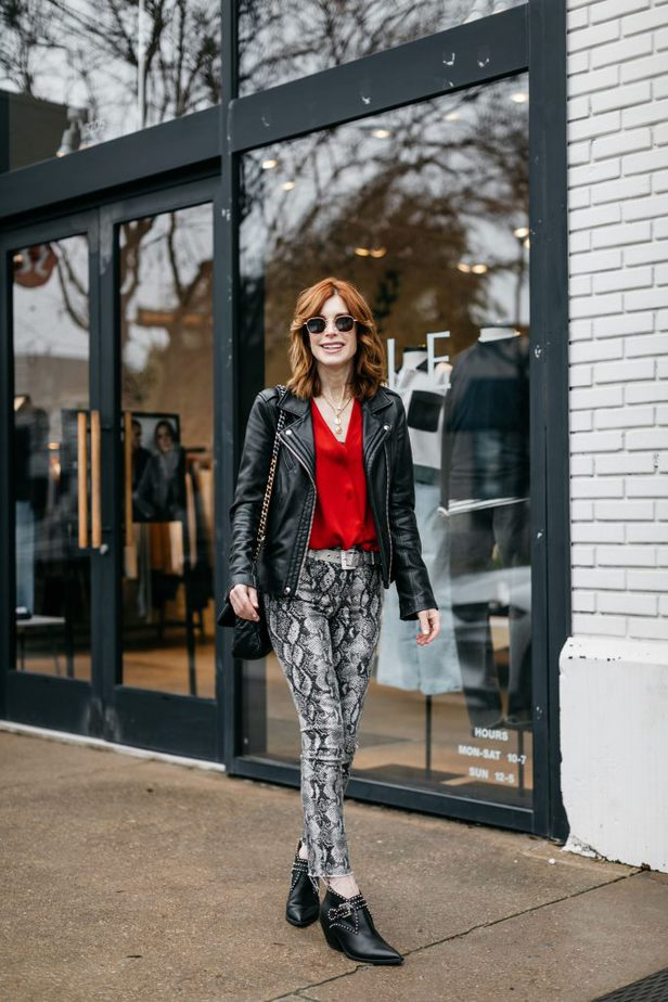 Valentine's Day Blouse Under $100, IRO leather jacket with Chelsea28 red blouse and Givenchy Booties