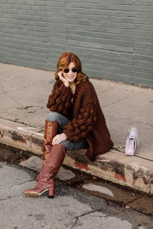 Over 50 Dallas Blogger wearing Mumshandmade sweater with Moda Operandi Croc embossed Boots