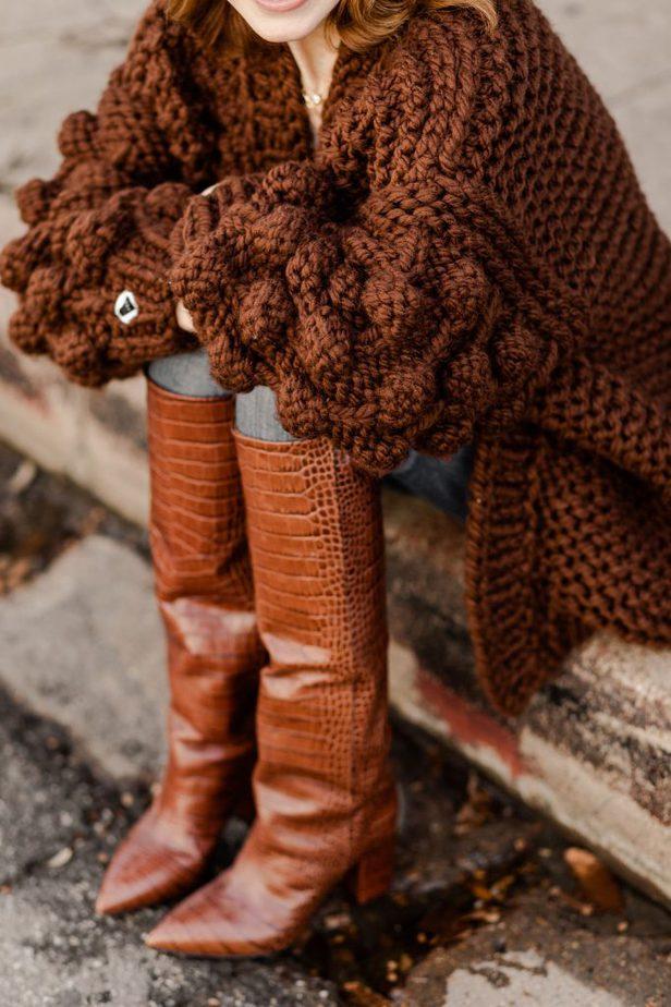 Dallas Blogger Cathy Williamson wearing hand made Mumshandmade Sweater with Moda Operandi Boots