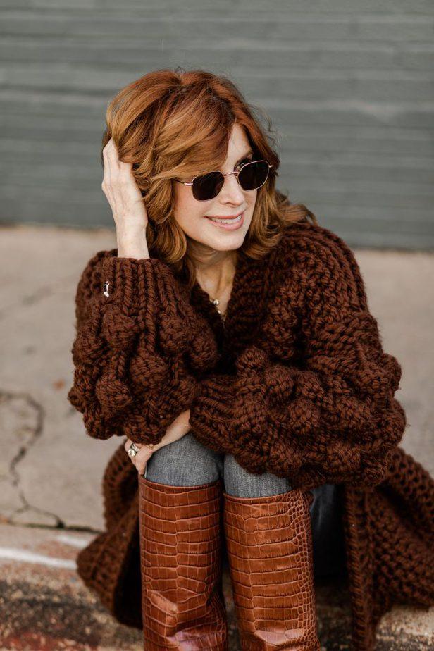 chunky knit bubble sleeve cardigan