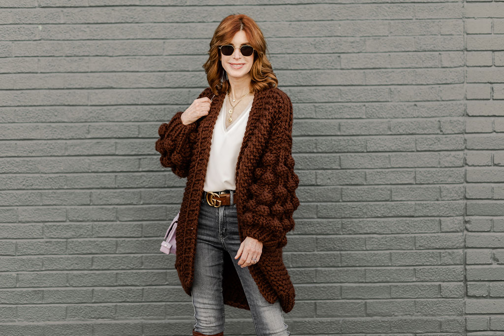Cathy Williamson wearing Mumshandmade Sweater with Gucci Belt