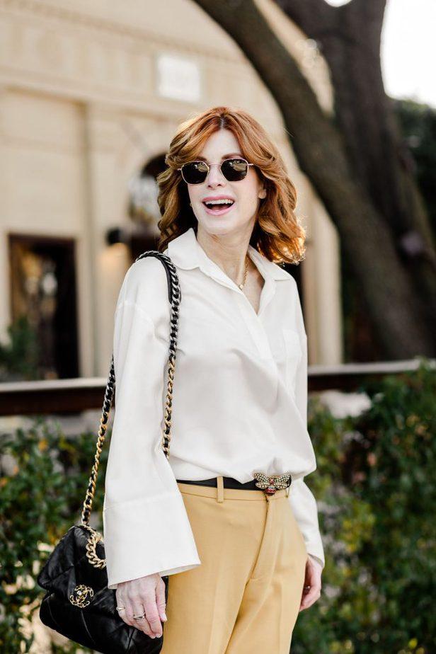 Over 40 Dallas Blogger wearing Chanel Purse with Club Monaco blouse