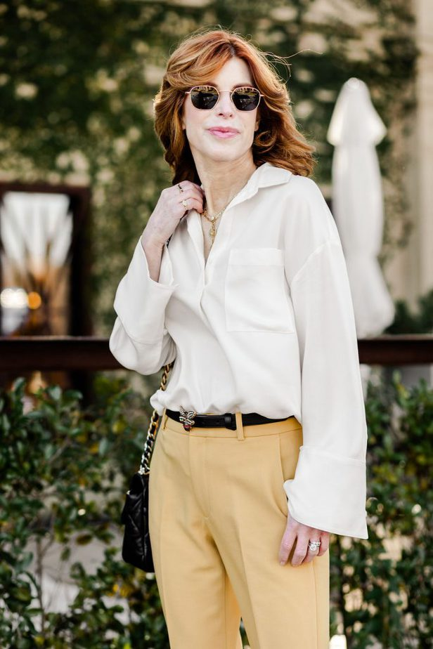 Yellow trousers from Club Monaco paired with white blouse