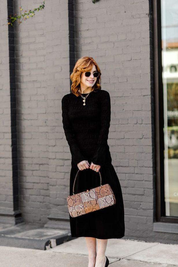 Over 50 Dallas Blogger wearing H&M black smocked dress
