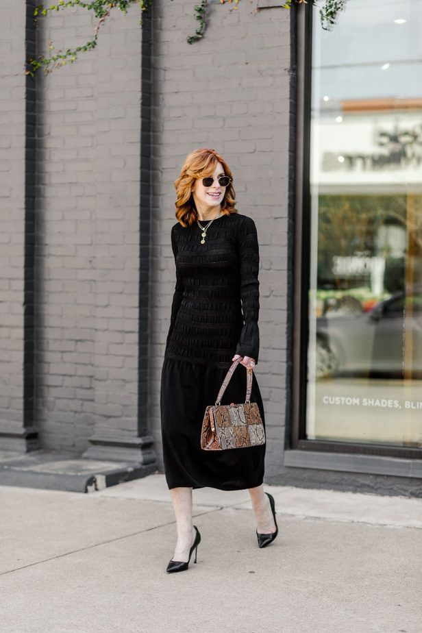 Cathy Williamson wearing black dress from H&M with Staud Whitney Bag
