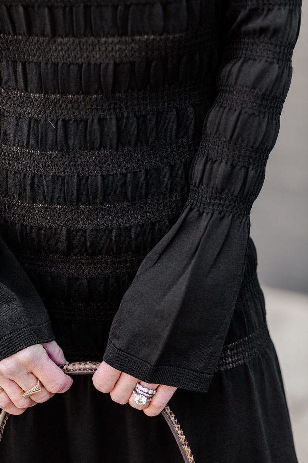 Puckering details on black smocked dress from H&M