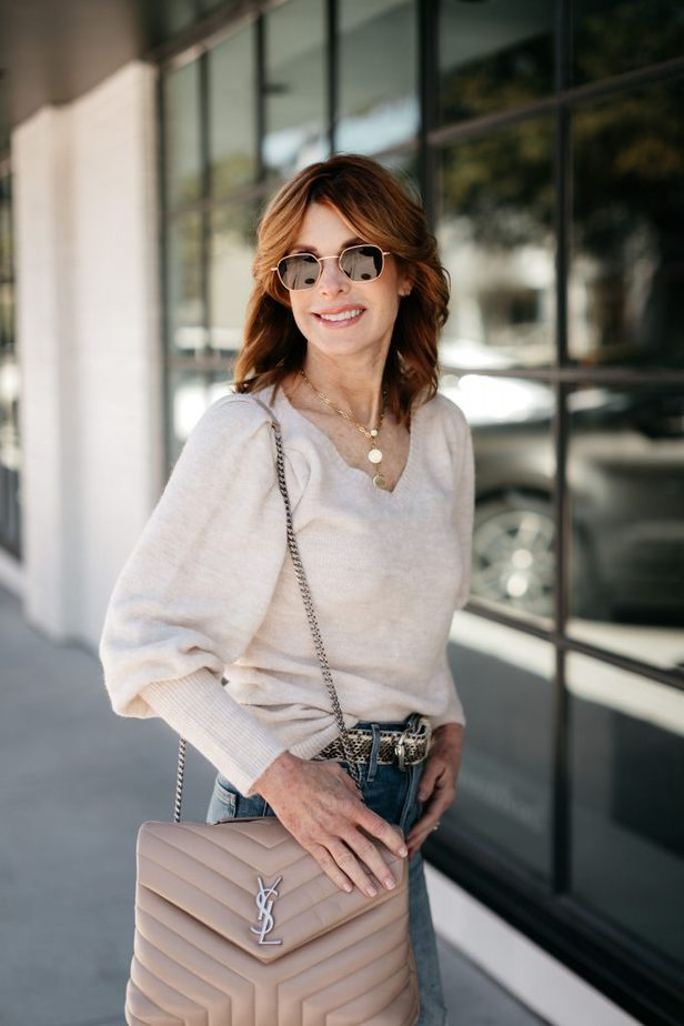 Over 40 Dallas Blogger wearing Rachel Parcell sweater with YSL handbag