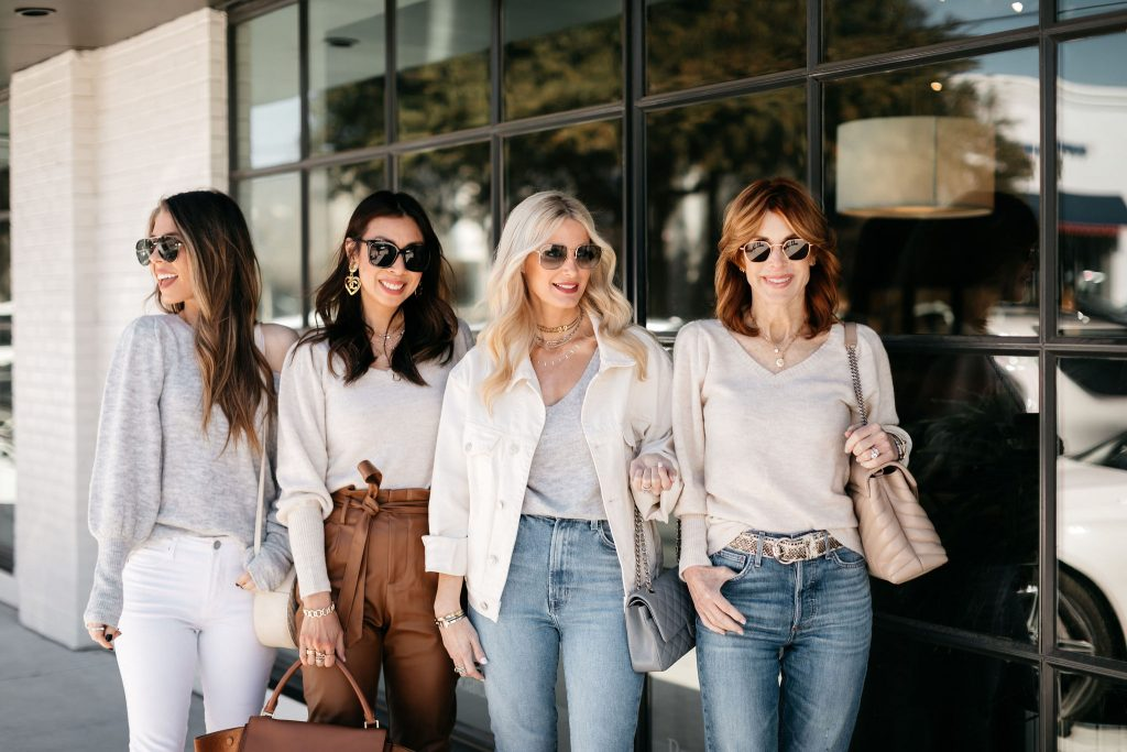 Dallas fashion bloggers Chic at every age wearing puff sleeve sweater