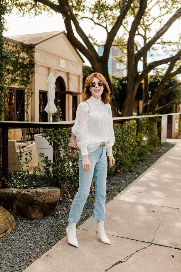 Cathy Williamson wearing white blouse from ShopBop with jeans