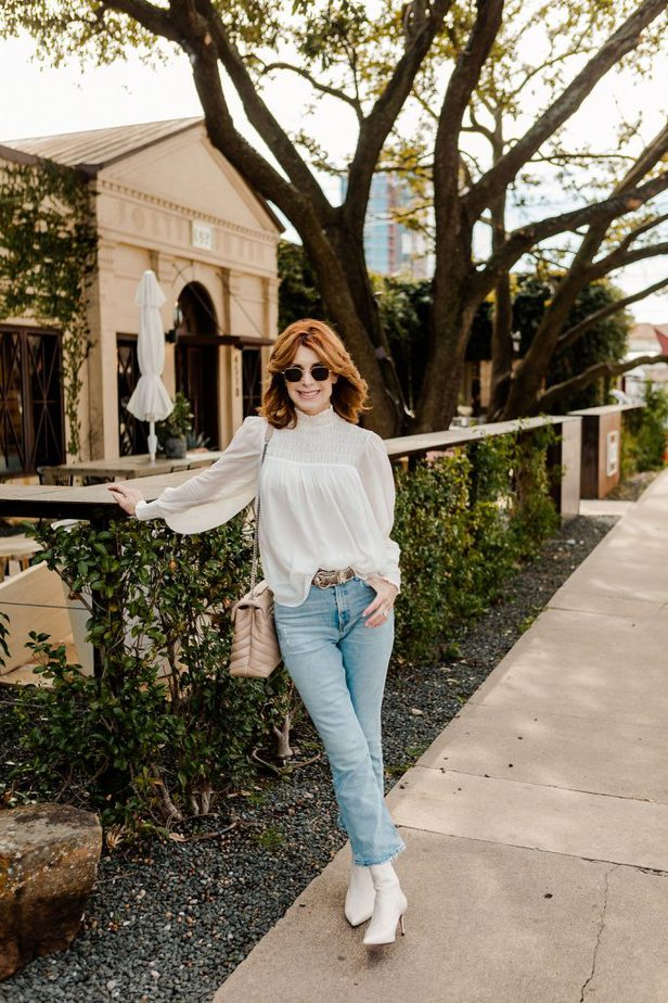 Over 50 Dallas Blogger wearing Nordstrom Boots with Shopbop white blouse