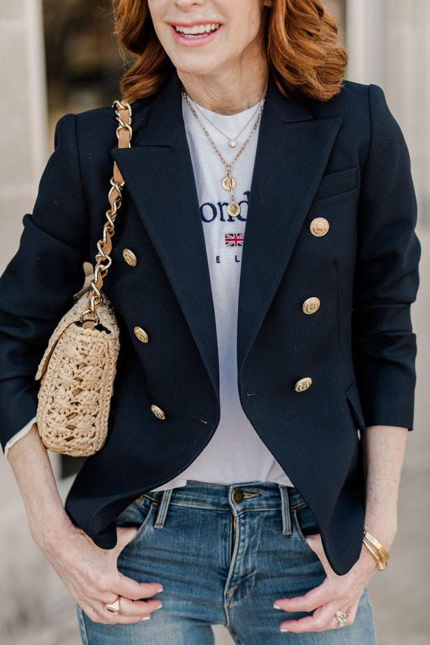 Judith & Charles navy blazer worn by Cathy Williamson of The Middle Page