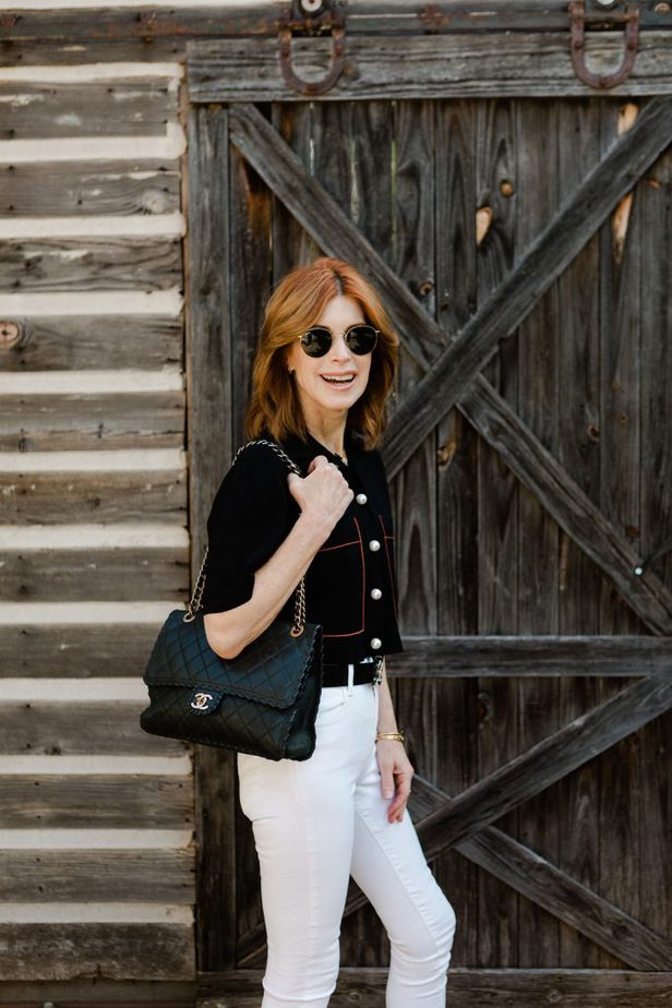 Over 40 blogger wearing Chanel purse and Chanel belt paired with Sandro Cardigan