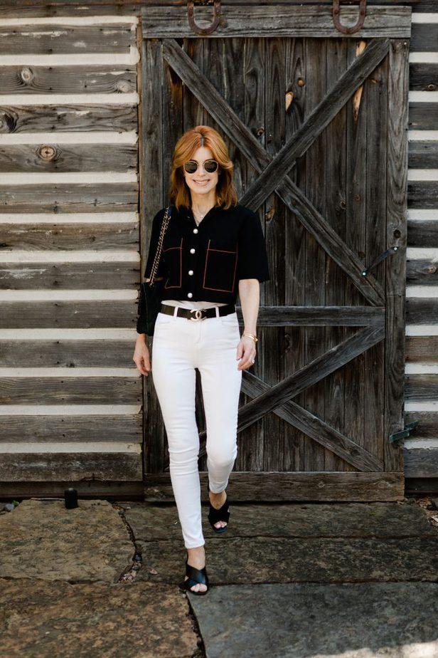 Dallas Fashion blogger wearing pearly sandro cardigan