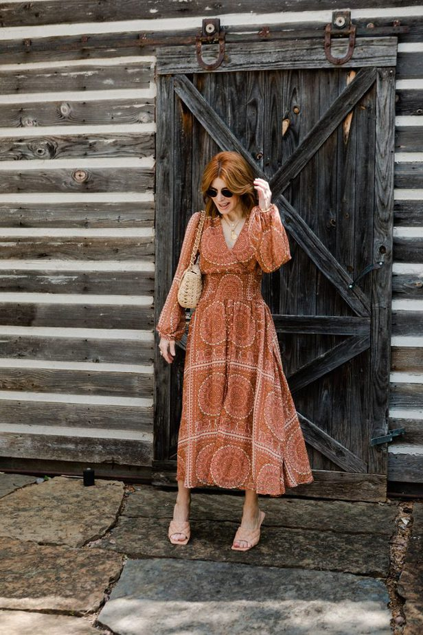 Over 40 Dallas Fashion Blogger wearing Orange dress from Anthropologie with Bottega Venetta nude sandals