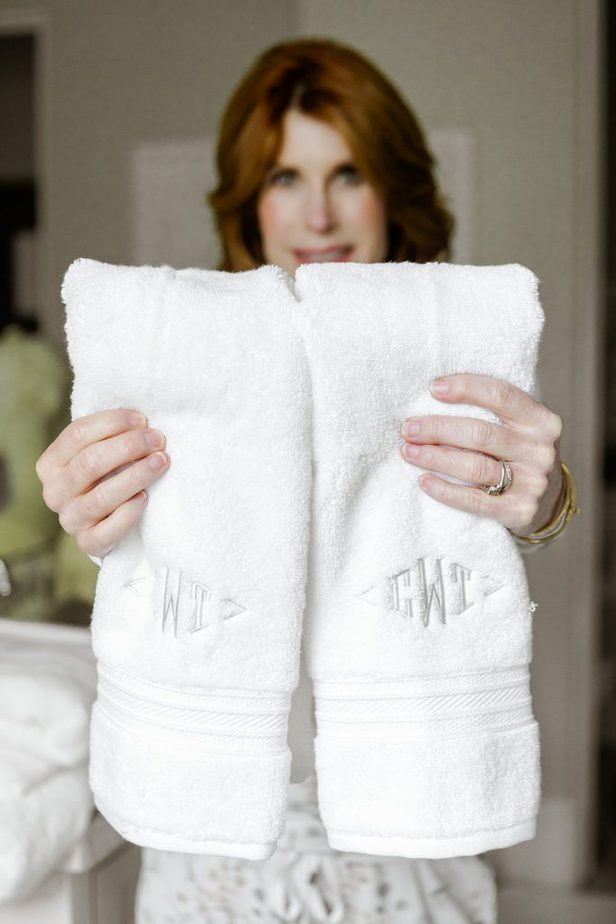 The Middle Page with monogrammed towels from The Company Store