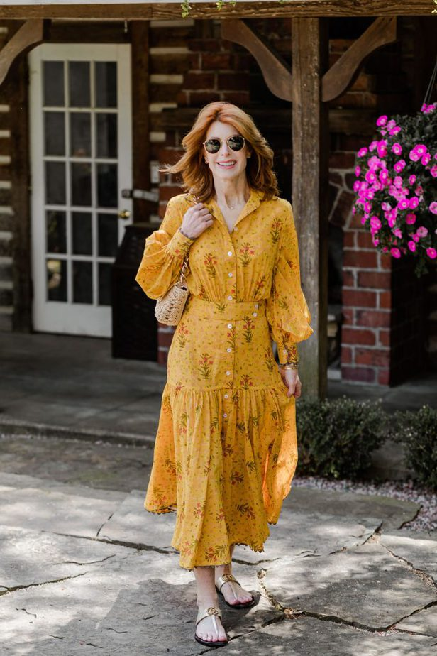 Yellow Floral Maxi Dress on Dallas Blogger