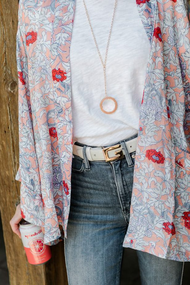 Floral Kimono with Rose Gold Necklace and Gucci Belt