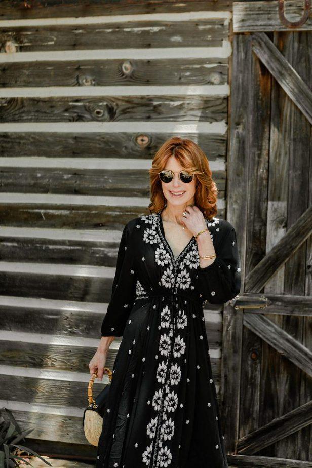 Dallas Redhead Blogger in Black and White Embroidered Dress